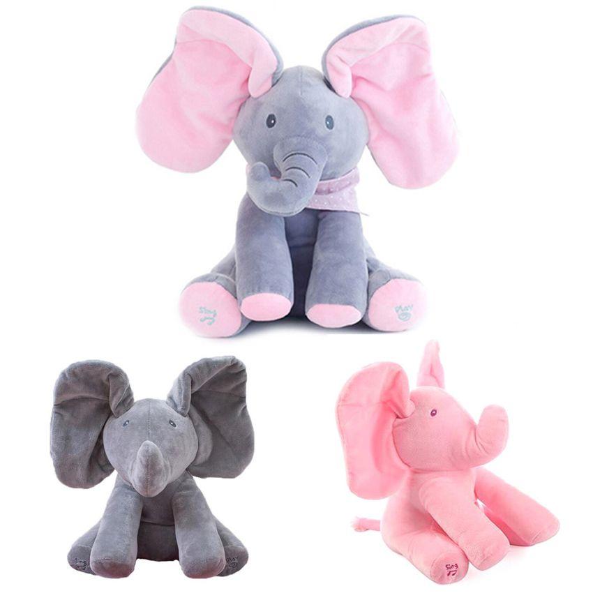 30cm Play Music Elephant 2018 Electric Elephant Peek a boo Plush Soft Toy Animal Stuffed Doll Play Hide Cute Educational Toy