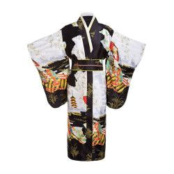 Black Woman Lady Japanese Tradition Yukata Kimono With Obi Flower Vintage Evening Dress Cosplay Costume One size ZW01