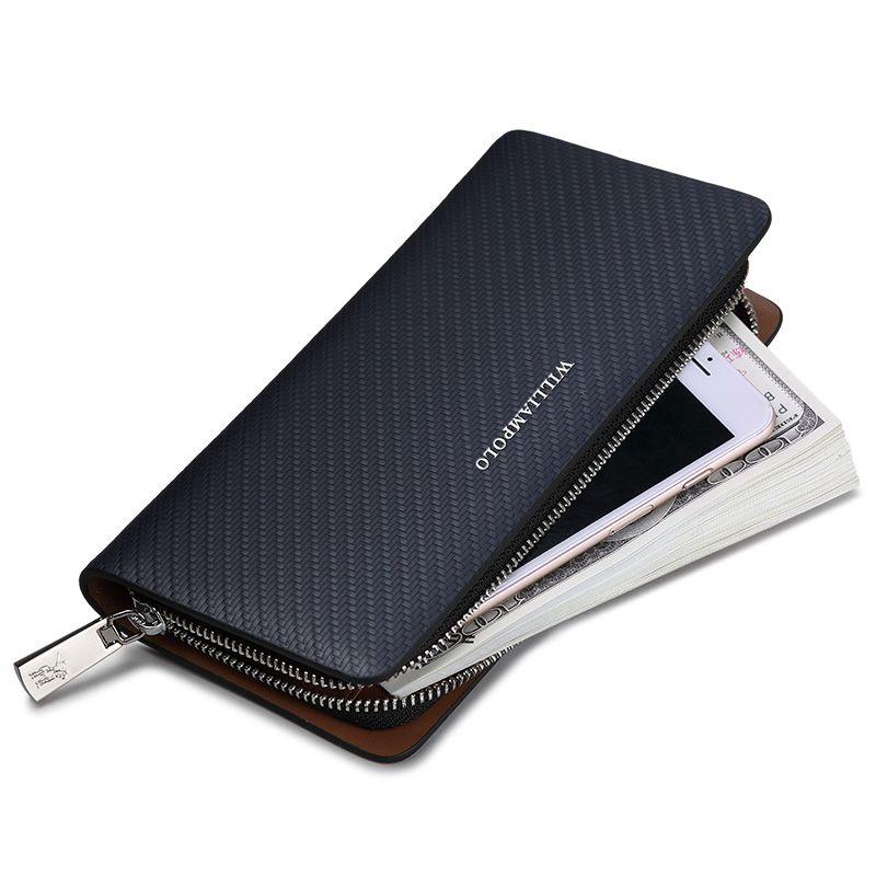 HOT!!! WILLIAMPOLO 2018 Original Marke 100% Leder Brieftasche Männer Berühmte Lange Stricken Muster Brieftasche Männer Luxus Marke Brieftaschen #118