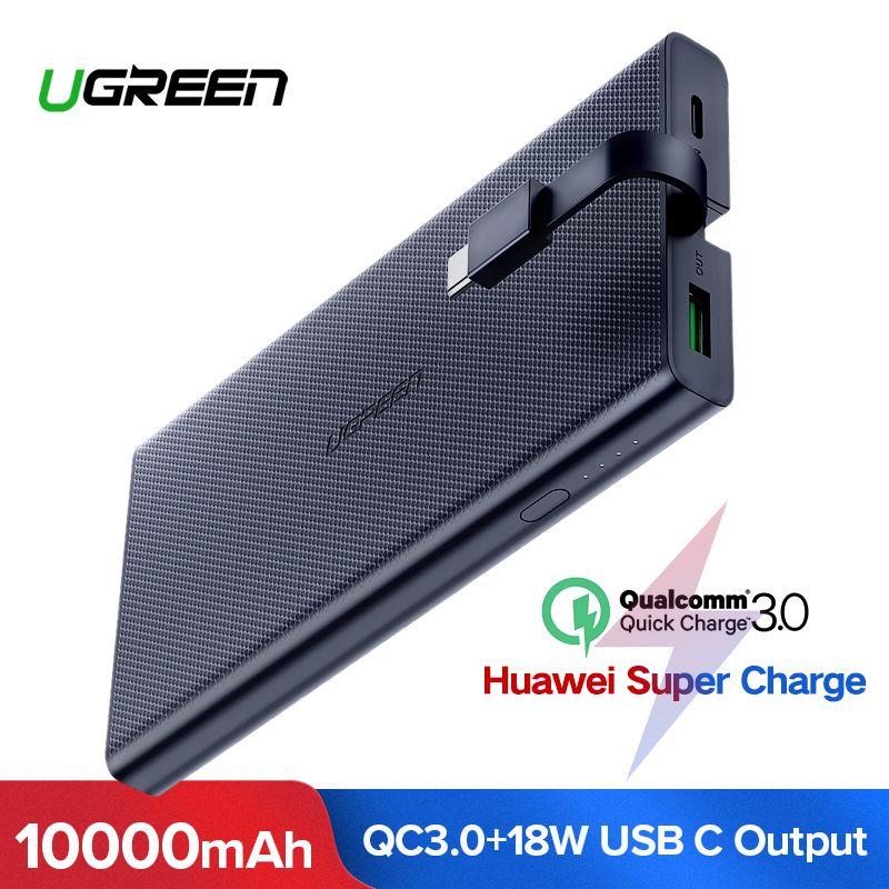 Ugreen 10000 mAh batterie externe 18 W Charge rapide 3.0 Powerbank chargeur de batterie externe Pack pour Xiaomi téléphone portable Type C appauvrbank