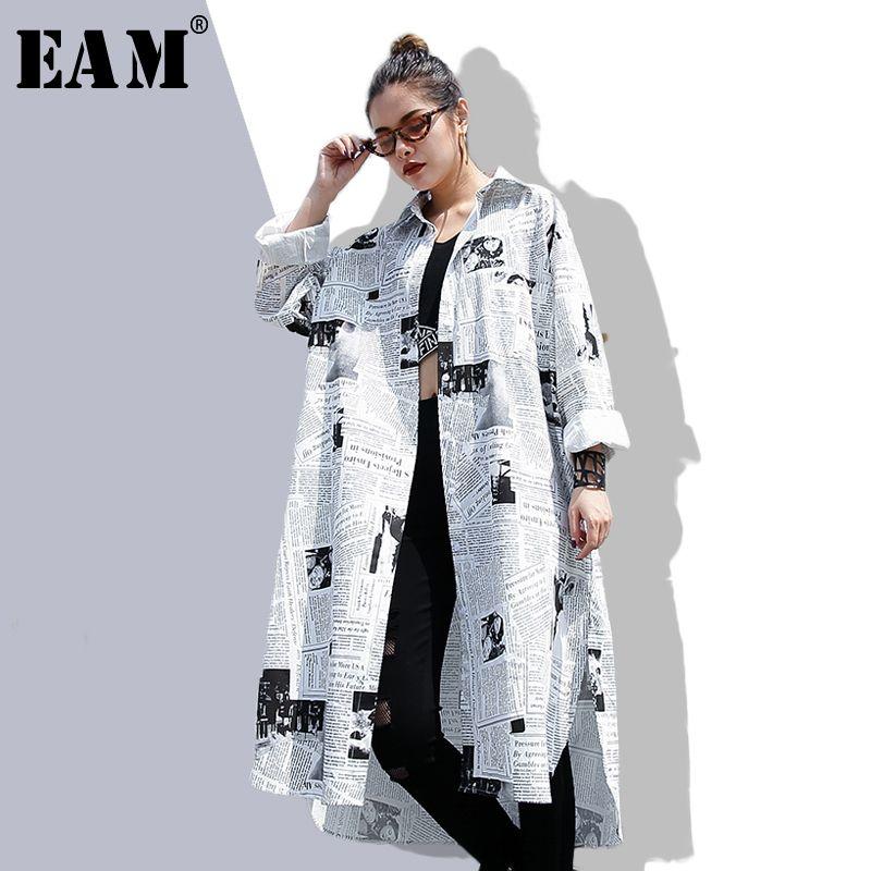 [EAM] 2018new Autumn Summer Lapel Long Sleeve White Printed Loose Irregular Big Size Long Shirt Women Blouse Fashion Tide JF008