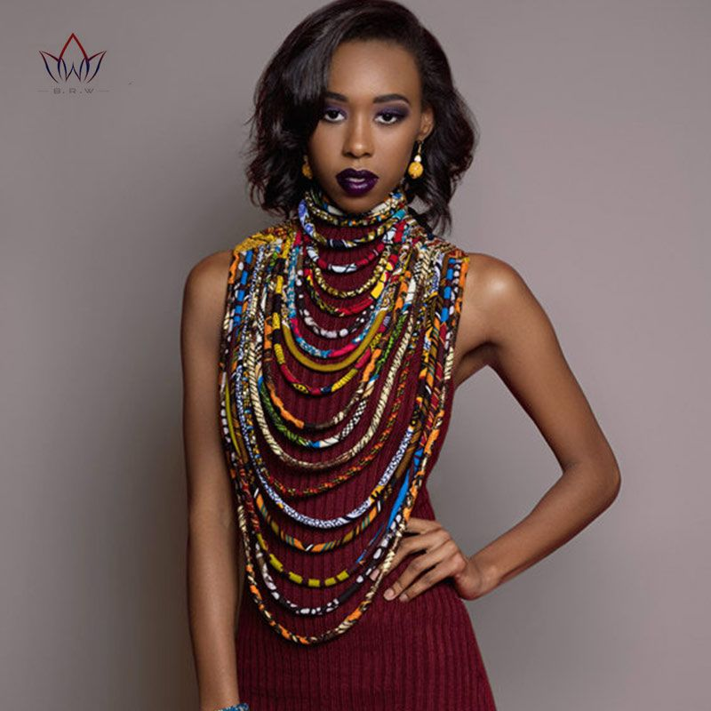 2017 Ankara Beautiful Multi Strand Necklace African Bold Colorful Long Exotic Jewelry Anfrica Handmade Necklaces WYB181
