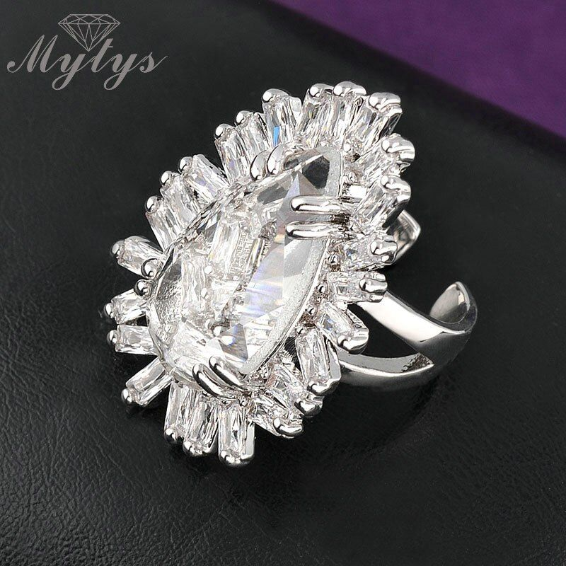 Mytys One Size Ring Free Size Opening Rings Big Crystal Prong Setting High Quality Clear Zircon Ring For Women R1002