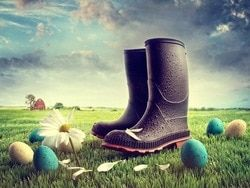 Easter Day Photography Background Made By Art Fabric Printed With Blue Sky And Rain Shoes D-6408