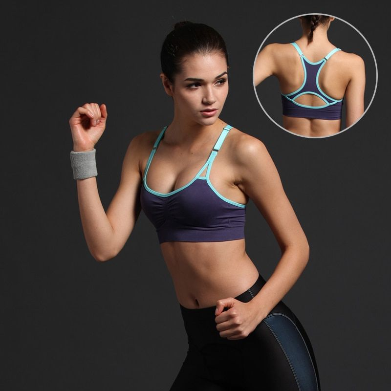 AZAOE Female Running Yoga Sports Bra Shake-proof Seamless Athletic Fitness Sports Tops Padded Sexy Wirefree Muti Color Sport Bra