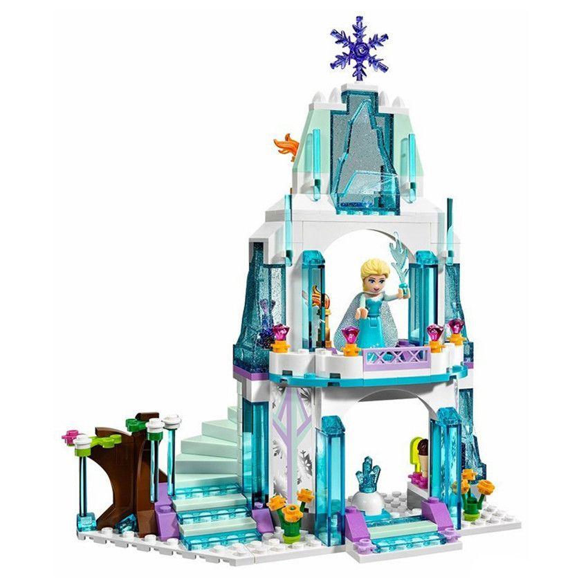 The Best Gift for Kids! Girls DIY Dream Castle Princess Elsa Building Blocks Children Educational Assembling Puzzle Brick Toy
