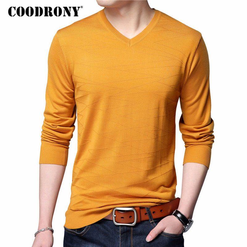 COODRONY Pull en laine tricoté décontracté col en v chandail hommes marque vêtements hommes coton chandails Slim Fit Pull Homme chemises 7129