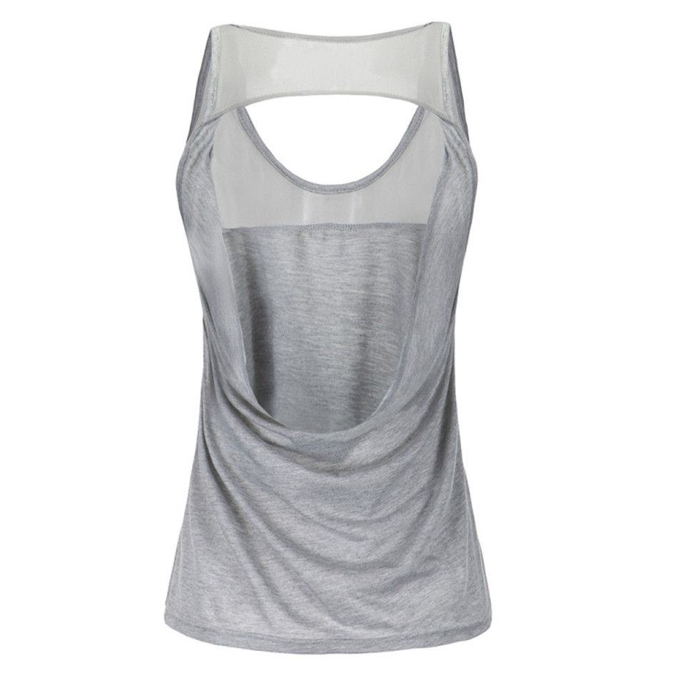 Ayopanda Open Back  Mesh Yoga Top Hollow Out Grey Running T shirt Women Quick Dry Fitness Sleeveless Tank Top Women Shirts