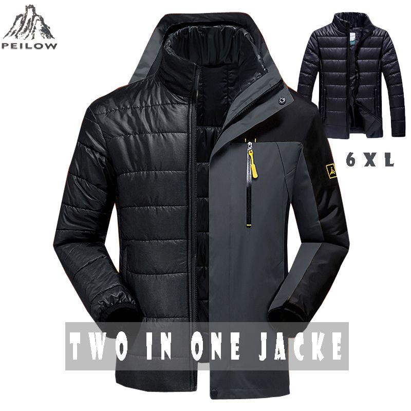 PEILOW Winter jacket men fashion 2 in 1 outwear <font><b>thicken</b></font> warm parka coat women`s Patchwork waterproof hood men jacket size M~6XL