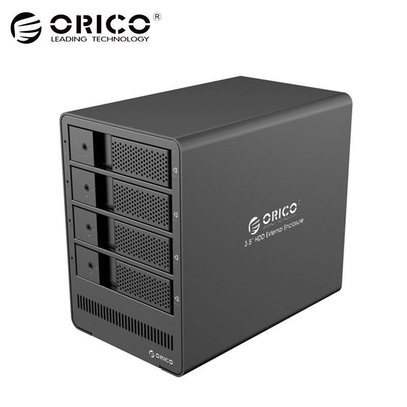 ORICO инструмент Бесплатная Алюминий 4-Bay 3.5 USB3.0 SATA Корпуса для жёстких дисков 4 отсека HDD Docking Station чехол для ноутбука ПК HDD Case-(9548u3)