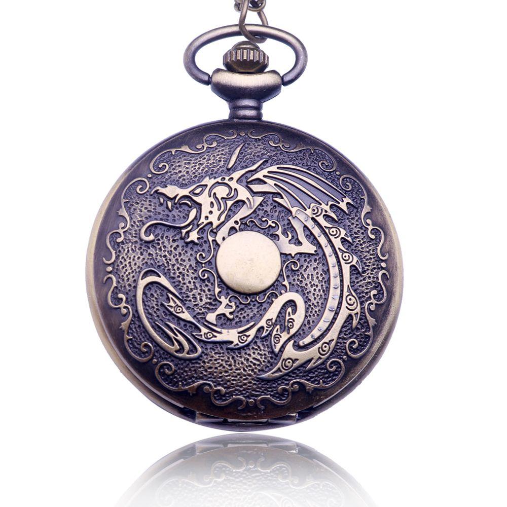 New Large Dragon Retro Pocket Watch Necklace Men's Women's Necklace Hanging Table Quartz Large Pocket Watch Drop Shipping