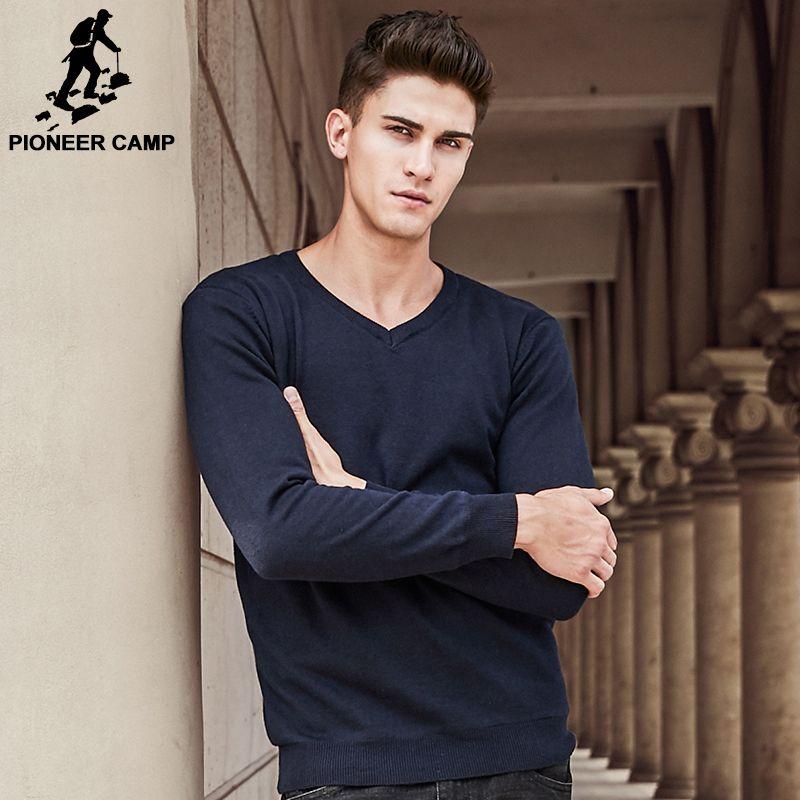 Пионерский лагерь брендовая одежда V-Neck Solid свитер мужчин толстый Флисовый Пуловер Мужская Повседневная мода Рождество свитера мужские 611215