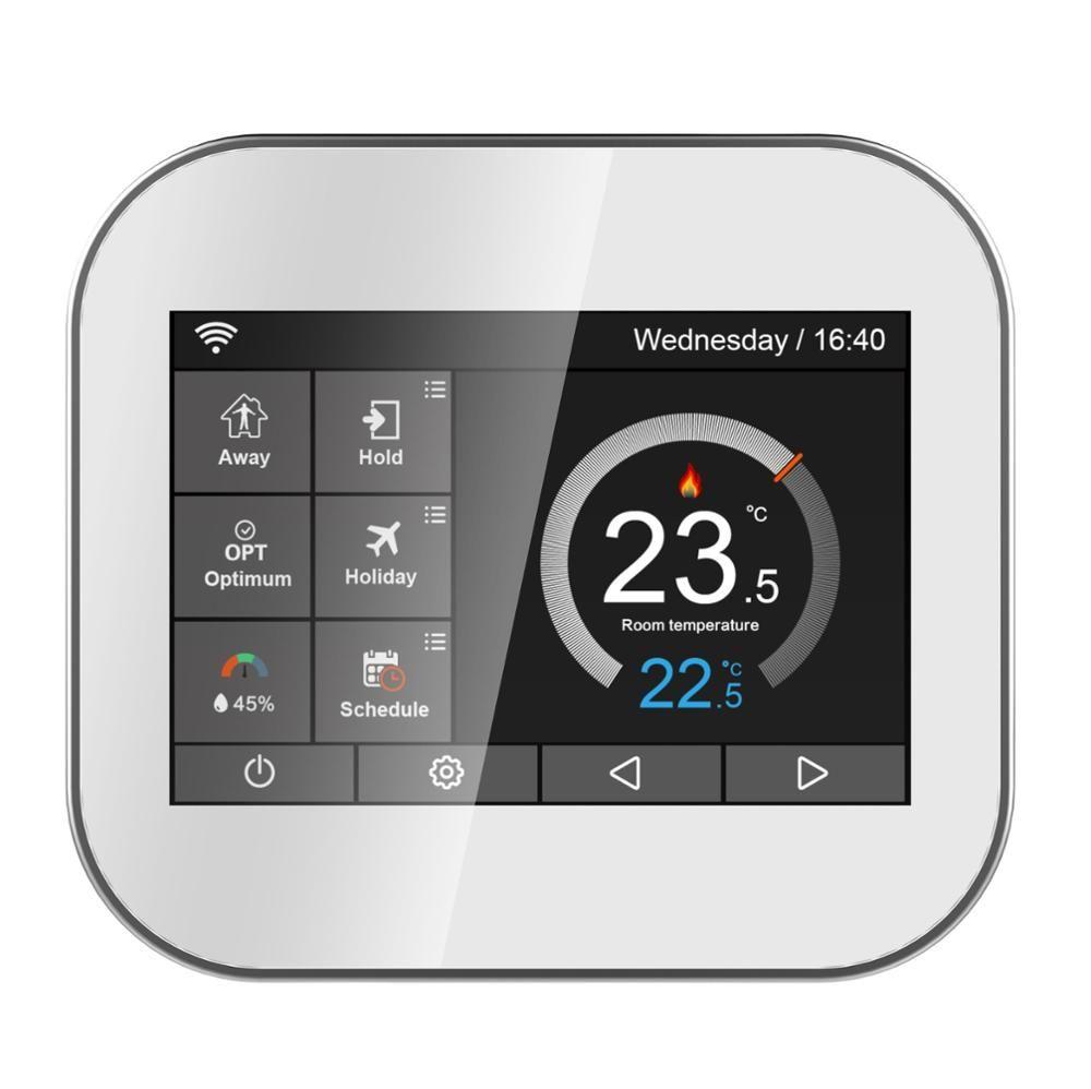 Thermostat d'écran tactile couleur Wifi pour le chauffage de l'eau/chaudière avec anglais//polonais/tchèque/italien/espagne par téléphone android IOS