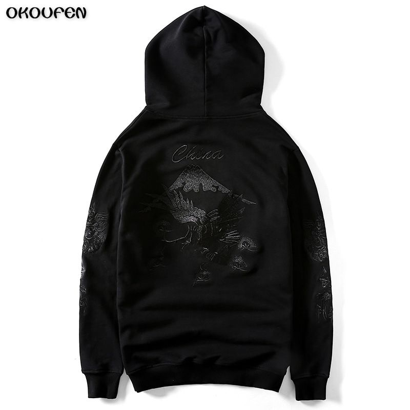 2018 Hoodies for Men's Autumn Winter Fashion Designer Crossing Eagle High Embroidery Hooded Sweatshirt Slim Hip Hop Tops WY32