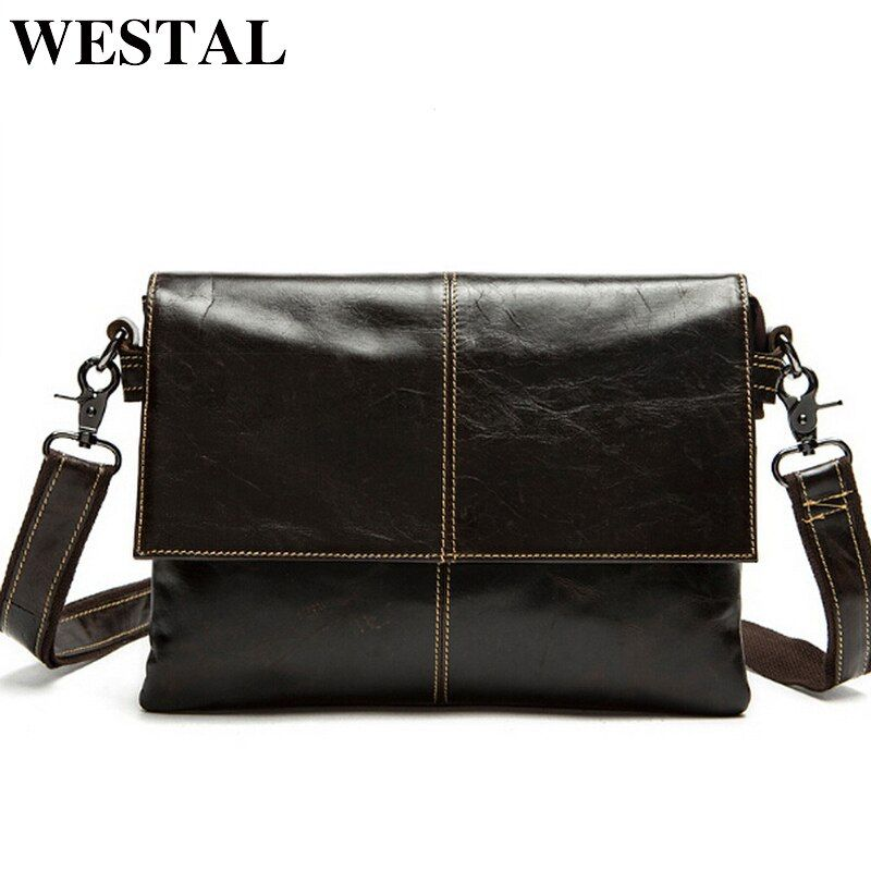 WESTAL <font><b>messenger</b></font> bag men's genuine leather Crossbody Bags Fashion ipad Small Flap Men Bags Men's Shoulder Bag Clutch Handbags