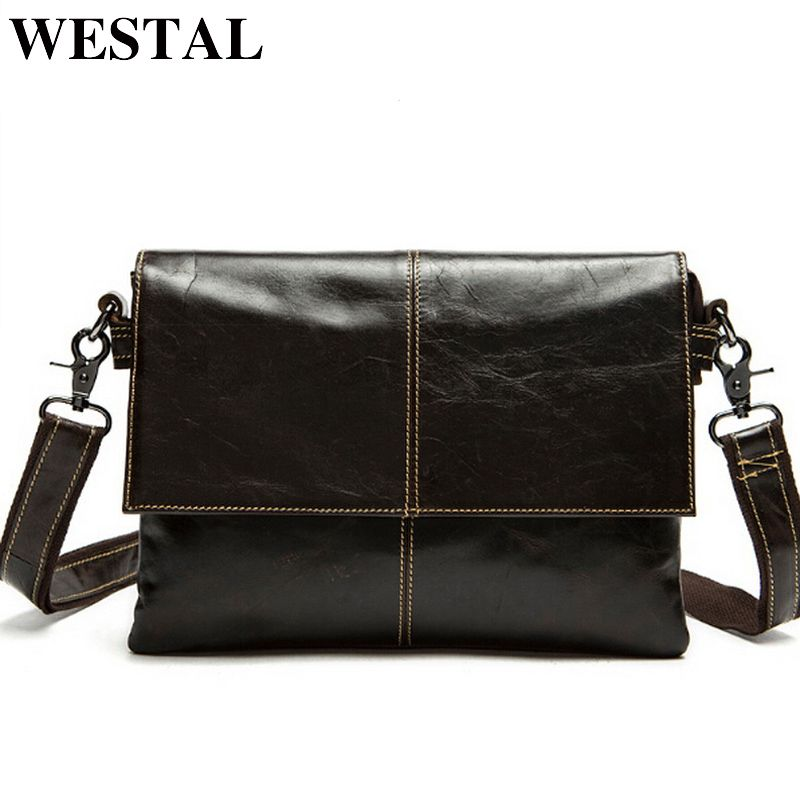 WESTAL messenger bag men's genuine leather Crossbody Bags Fashion ipad Small Flap Men Bags Men's Shoulder Bag Clutch Handbags