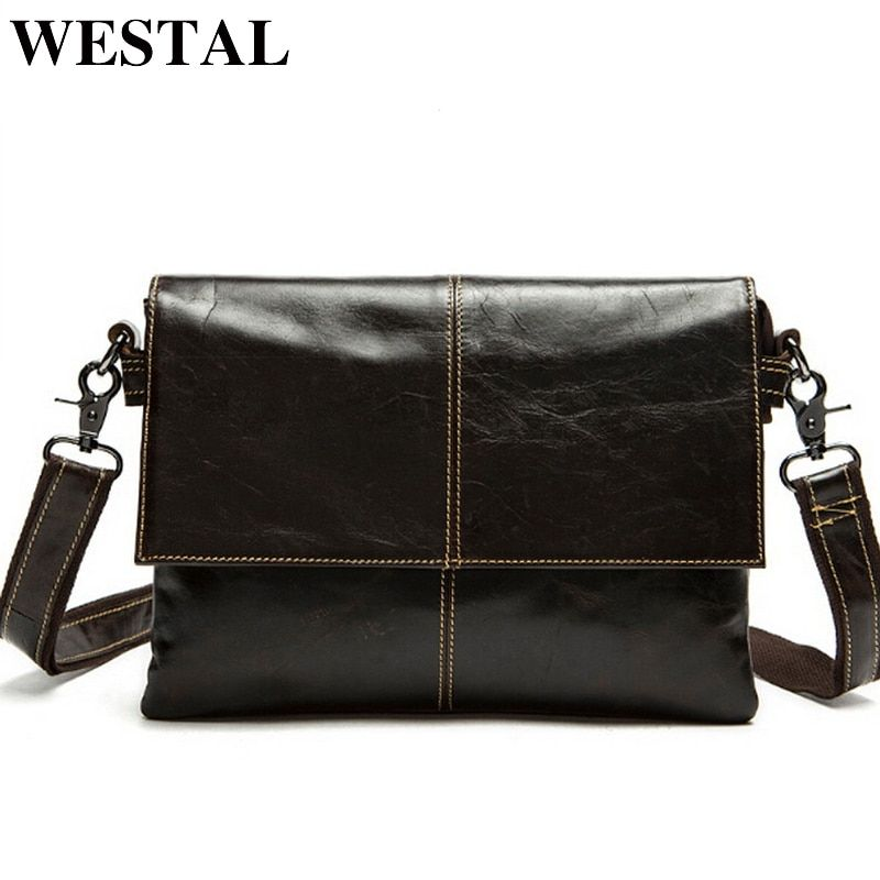 WESTAL messenger bag men's genuine leather Crossbody Bags Fashion <font><b>ipad</b></font> Small Flap Men Bags Men's Shoulder Bag Clutch Handbags
