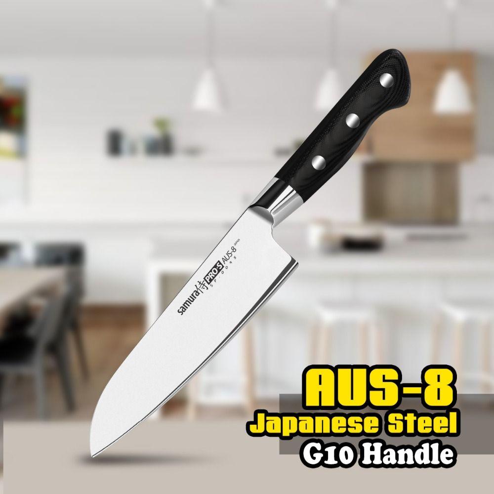 TUO coutellerie Santoku couteau-AUS-8 japonais haute teneur en carbone inox couteau de cuisine-noir ergonomique G10 poignée-7''