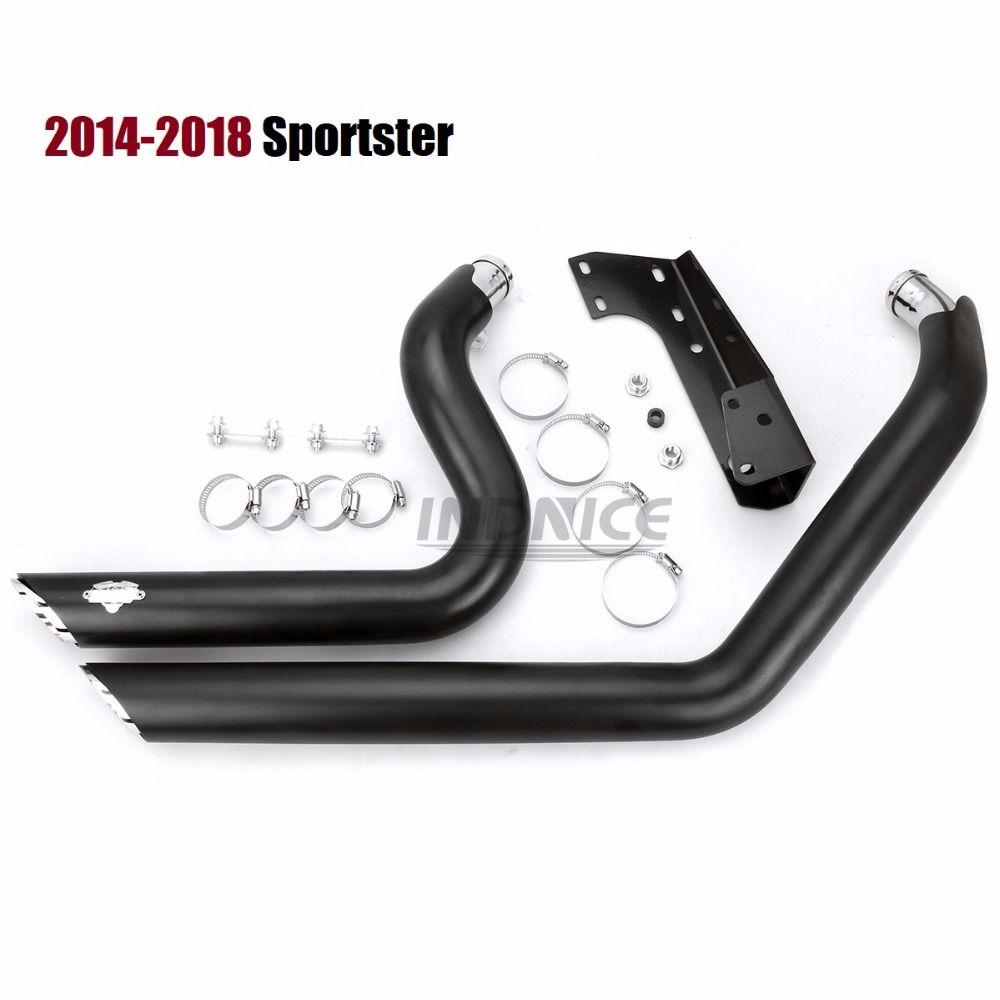 Schwarz exhuast schalldämpfer für harley eisen 883 Shortshots Auspuff Rohre für Harley Sportster xl883 auspuff sets xl1200 2014-2018