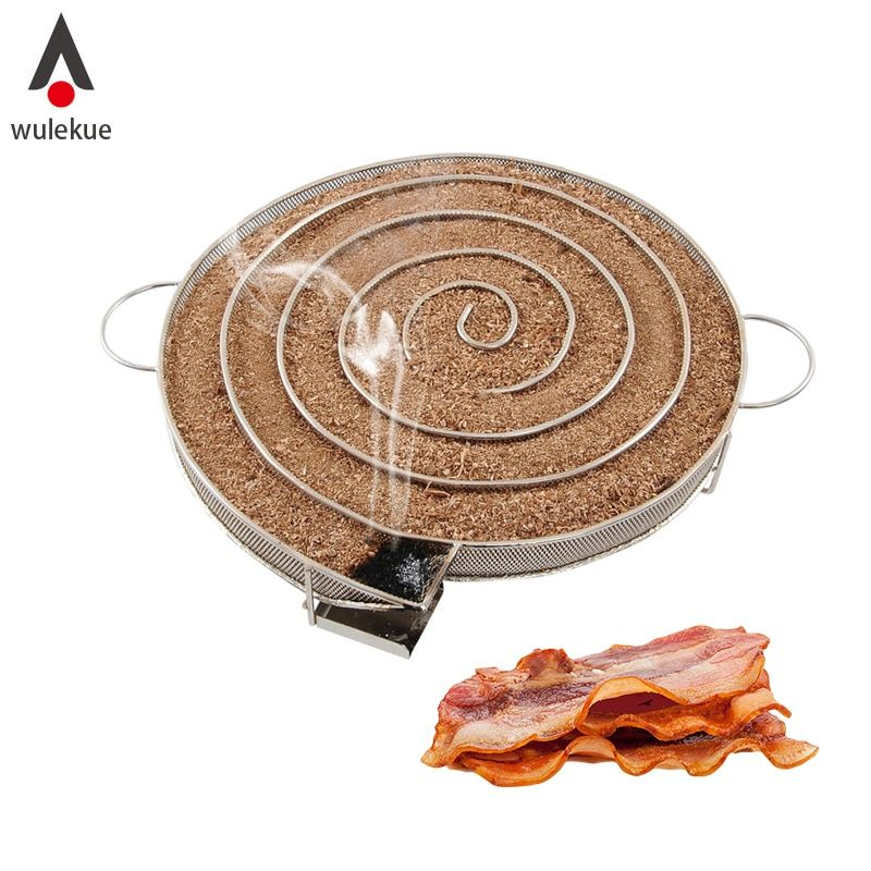 Wulekue Cold Smoke Generator for BBQ Grill or Smoker Wood dust Hot and Cold Smoking Salmon Meat Burn Cooking Tools