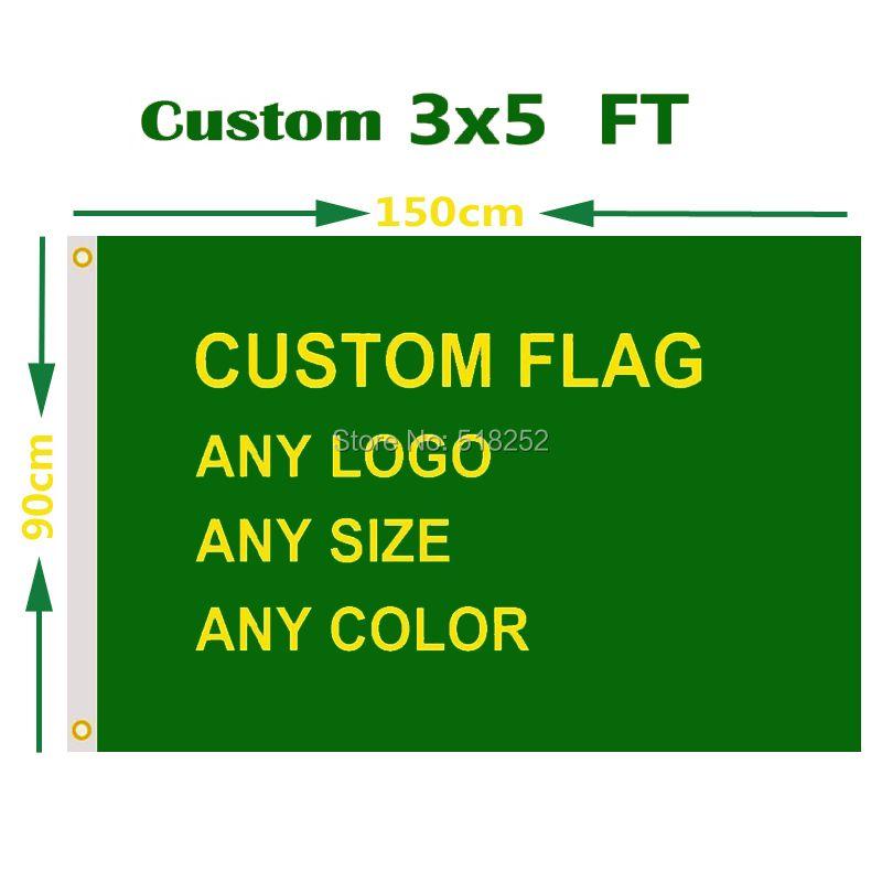 Personnalisé Drapeau 3x5 FT Flying Bannière Impression N'importe Quelle Taille dans 100D Polyester Tissu avec Cuivre Oeillets