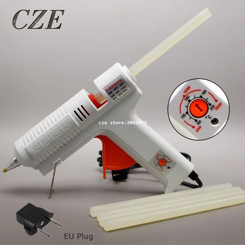 Freies Verschiffen 220 v 40-150 watt Hot Melt Kleber Gun Temperatur Einstellbare Repair Kit Tools mit 5 stücke kleber Sticks