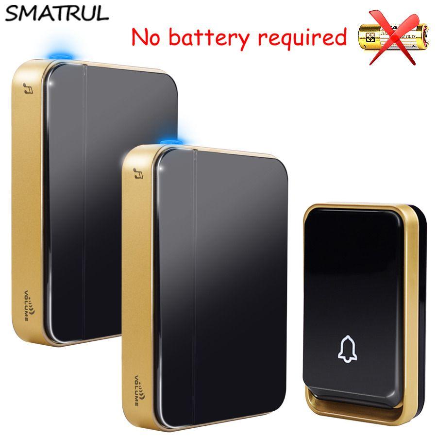 SMATRUL auto-alimenté sonnette sans fil étanche pas de batterie EU UK plug smart home porte sonnette carillon 1 émetteur 1 2 récepteur