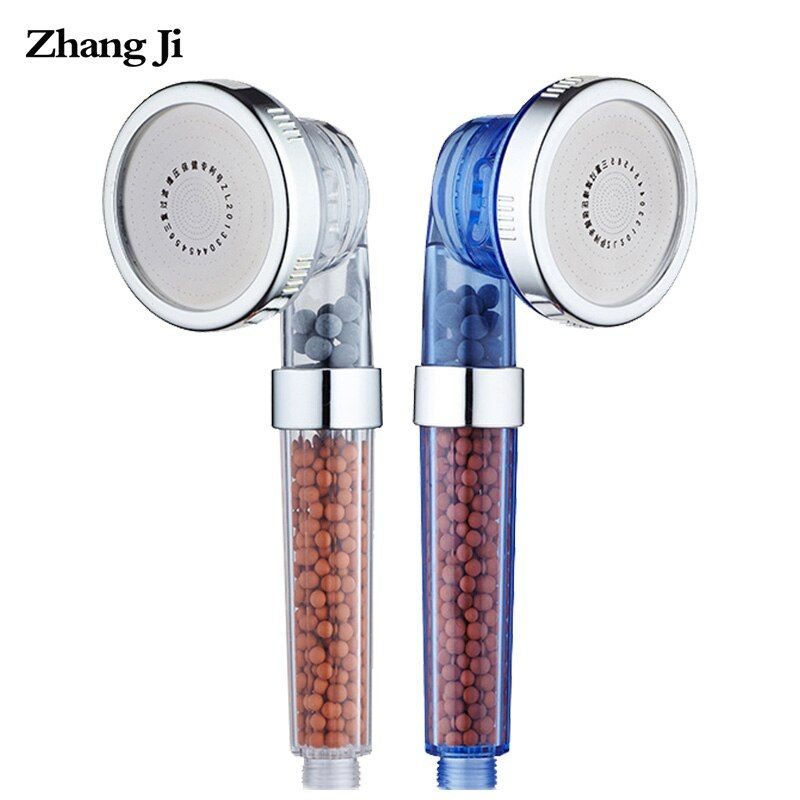 ZhangJi 3-Function Adjustable Jetting Shower Head High Pressure Saving water Anion Filter SPA Nozzle Bathroom Shower Bath Head