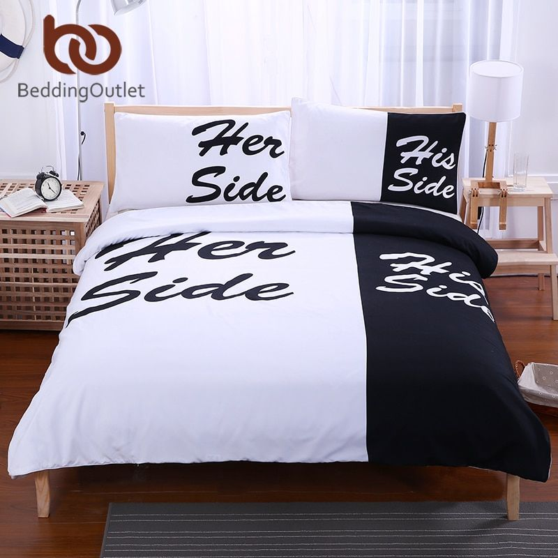 BeddingOutlet Black White Bedding Set His and Her Side Home Textiles Soft Duvet Cover and Pillowcases 3 <font><b>Pieces</b></font> Queen King Hot