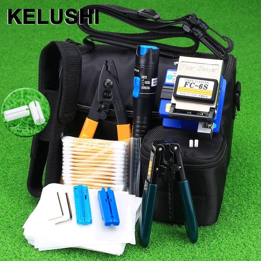 KELUSHI 13 PCS <font><b>Practical</b></font> FTTH Fiber Optic Tool Kit with FC-6S Fiber Cleaver and 5Mw Visual Fault Locator Fiber Optic Stripper