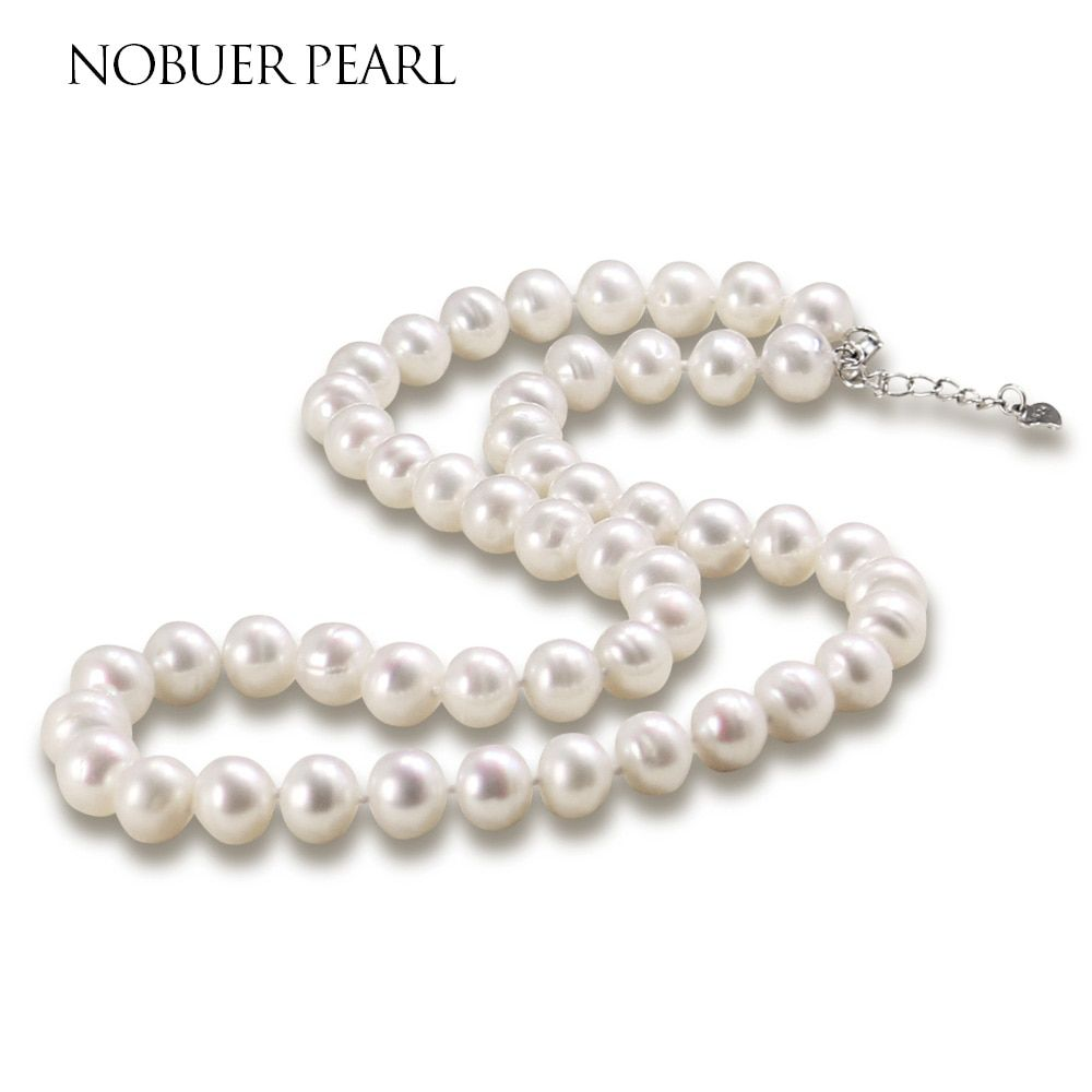 Nobuer High Quality Handmade 925 Silver Natural Freshwater Pearl Chokers Necklace For Women White & Multicolor Pearls Jewelry