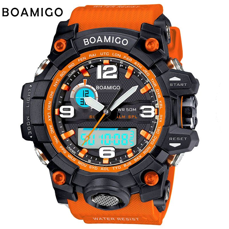 BOAMIGO brand men sports <font><b>watches</b></font> dual display analog digital LED Electronic quartz <font><b>watches</b></font> 50M waterproof swimming <font><b>watch</b></font> F5100