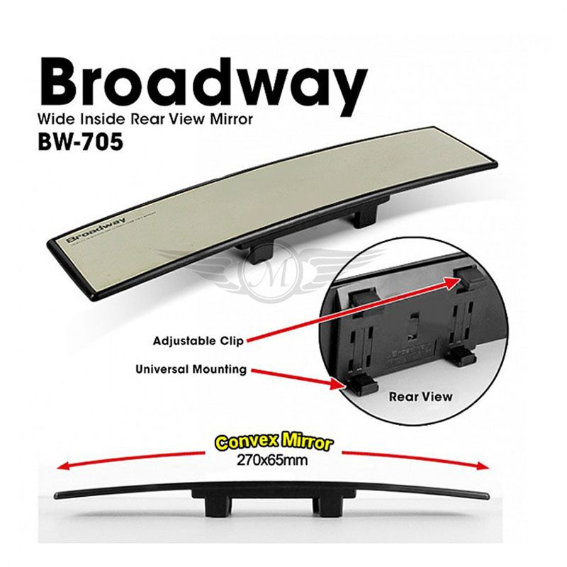 Broadway Untra Thin Universal 270mm Wide Convex Auto Clear Interior Mirrors Clip On Car Vehicle Truck Inside Rear View Mirror