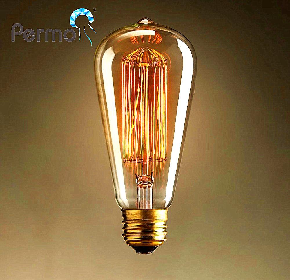 Permo industrial al por mayor Edison filamento bombilla antiguo vintage ST64 bombillas E27 montaje bombillas incandescentes para la decoración casera