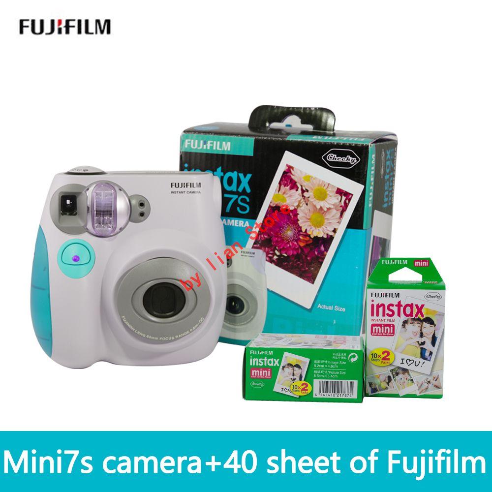 El envío libre de fuji fujifilm Instax Mini 7 S + film40 nueva suite cámara lomo film temporizador automático de imagen de la cámara