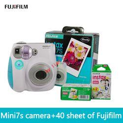 Free shipping of fujifilm Instax Mini 7S + film40 new suite fuji camera automatic timer lomo film camera imaging