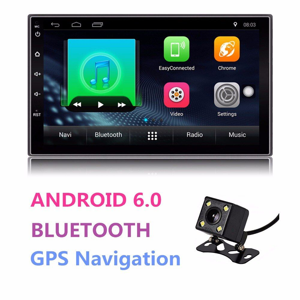 Universal Android Double 2 Din Auto Radio 7'' Touch Screen Quad Core 1GB RAM 16GB ROM Bluetooth Car Radio Stereo GPS Navigation