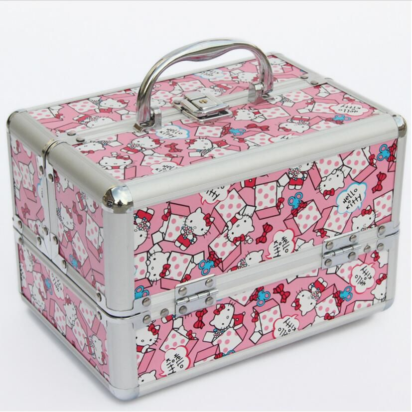 Hot Sale 24cm*17cm*18cm Pink Kitty Cat Makeup Travel Bag Cosmetic Bags For Women Handbag Jewelry Storage Box,trousse maquillage