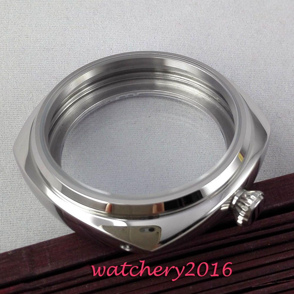 New 45mm parnis polished stainless steel case hardened mineral glass fit 6497 6498 ST 36 movement Watch Case