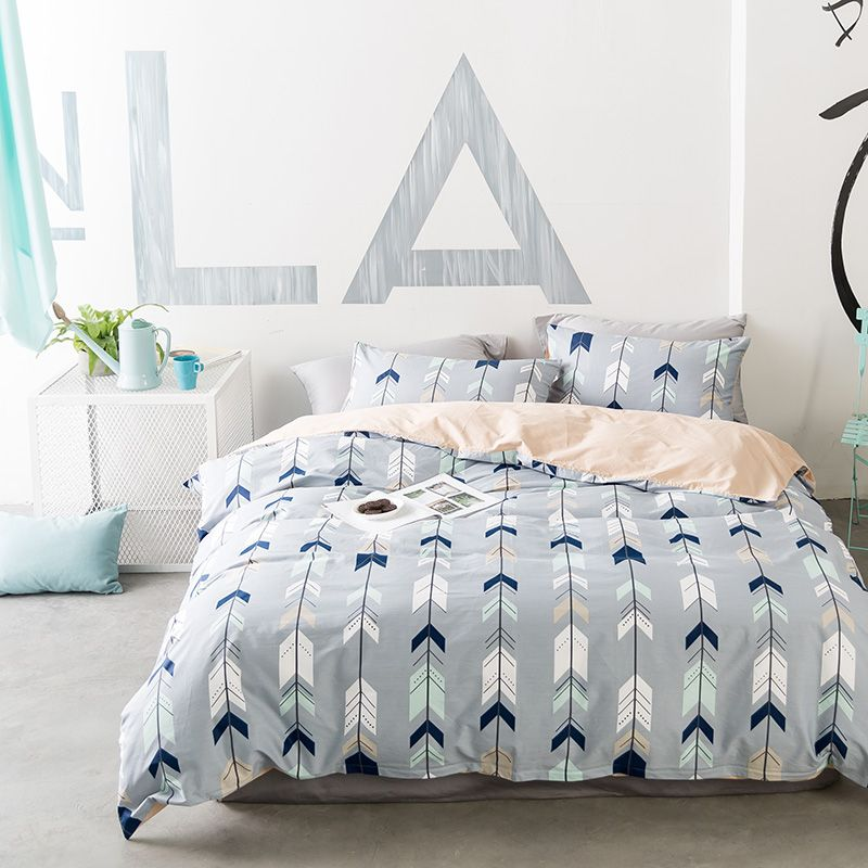 Papa&Mima Nordic style Arrows print Bedclothes Cotton Bedding Set Queen king Size Quilt Cover Pillowcase flat Bedsheet