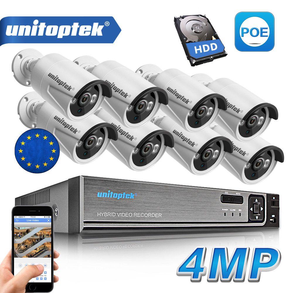 8 Pcs 4.0MP HD IP Kamera Im Freien Wasserdichte 8CH H.265 POE Sicherheit Kamera NVR CCTV System P2P Tag/Nacht ansicht Überwachung Kit