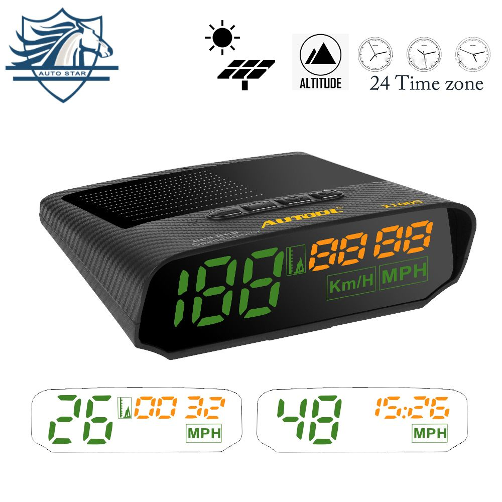 AUTOOL X100S Universal Car HUD GPS Speedometer MPH/KM/h LED Solar Power Auto GPS Speed Tracker Overspeed Alarm