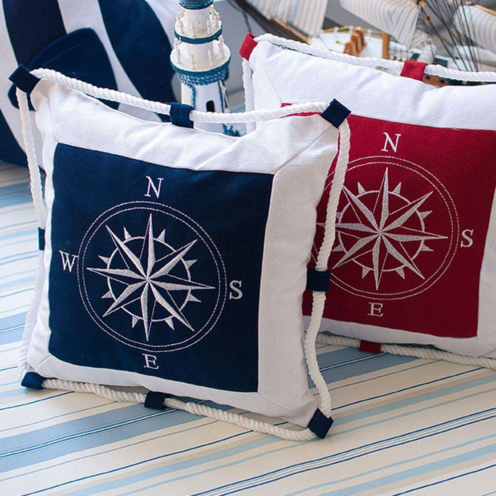 Méditerranée navigation ameublement Marine mer ancre Marine taie d'oreiller toile pour boussole broderie housse de coussin