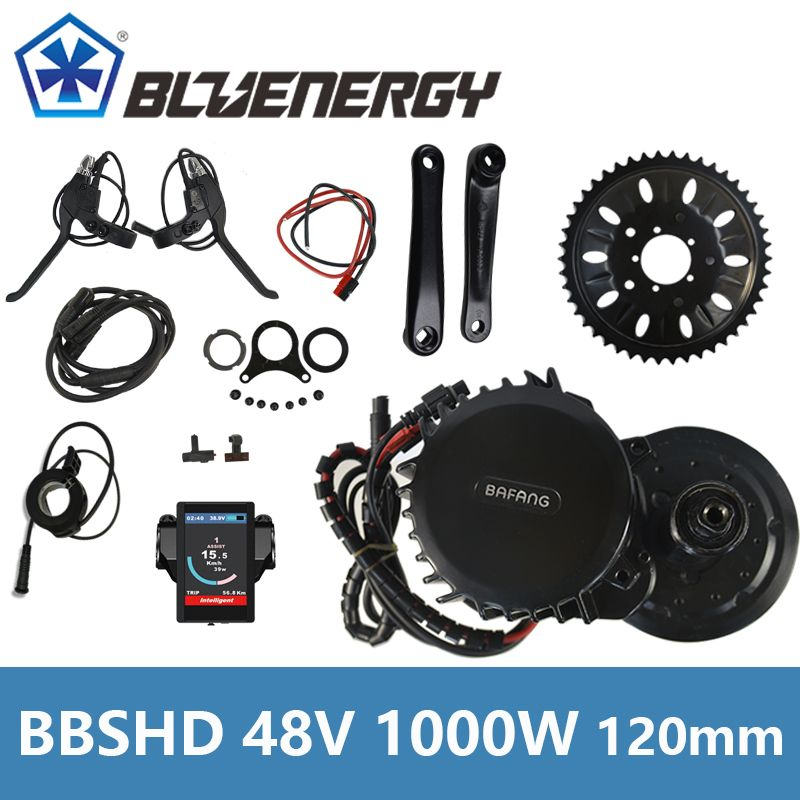 BBSHD BBS03 48V 1000W 8fun Bafang Mid Drive Crank Motor Ebike Kit BB width 120mm Electric Bicycle Conversion Kit