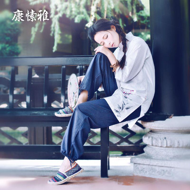 Large Size Women Sport Suits Tracksuits Breathable Kong Fu Yoga Shirt Pants Loose Yoga Sportswear Set Zen Meditation Clothing
