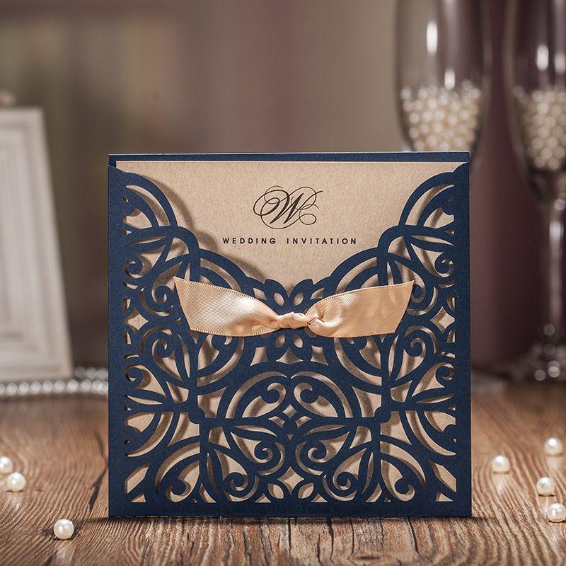 50 шт. синий лазерная резка свадебные Приглашения карты сами выезжают карты персонализированные пользовательские с лентой Бесплатная конве...