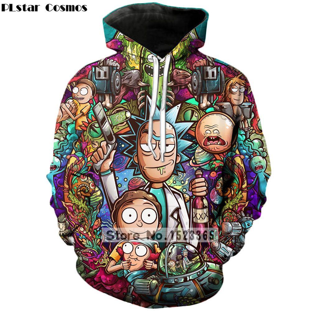 PLstar Cosmos Brand clothing 2018 New Fashion 3D Hoodies cartoon rick and morty 3D Print Men Women hooded sweatshirt Pullovers