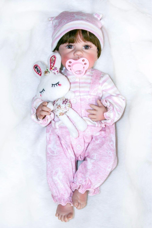40cm Full Body Silicone Vinyl Reborn Baby Doll 16inch Newborn Girls Babies Doll Bath Toy Child Birthday Gift Present Child Play