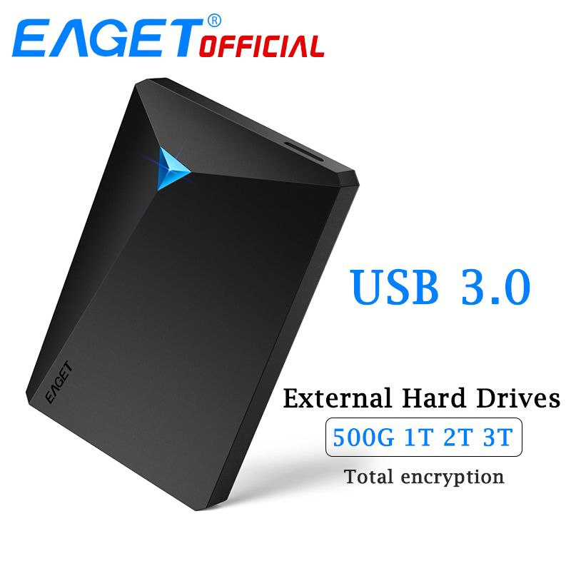 EAGET HDD Hard Disk Encryption External Hard Drive Disk USB 3.0 High Speed 500GB 1TB 2TB 3TB Desktop for Laptop Computer Phones