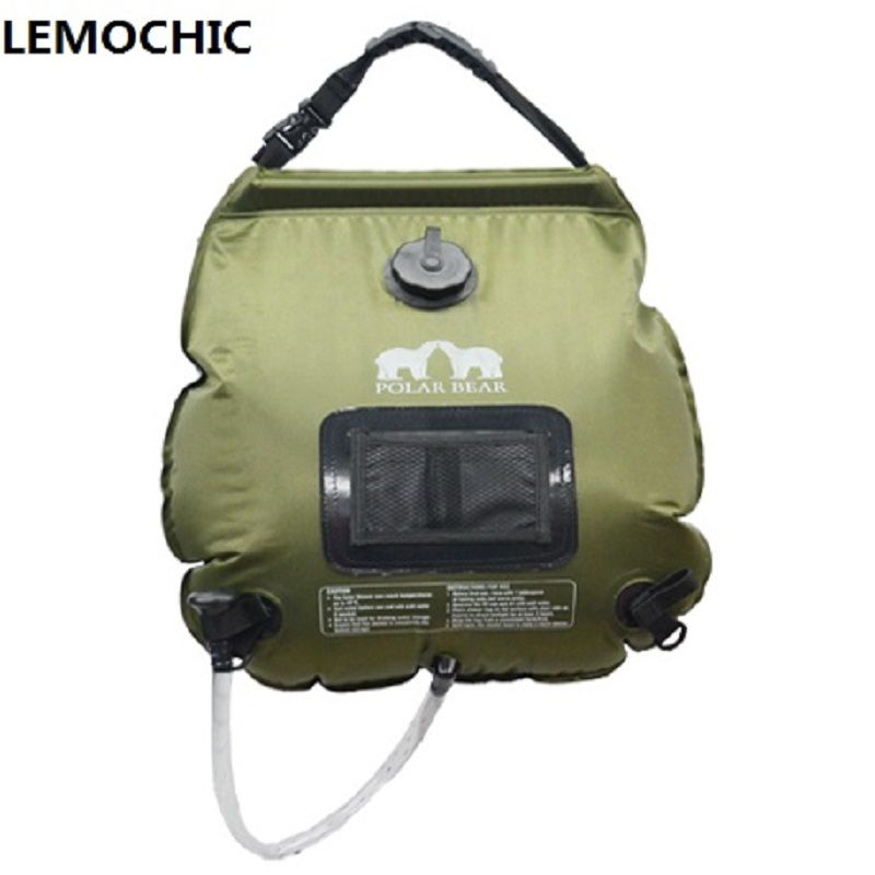 20L Summer outdoor camping hiking Self driving tour solar heating with Thermometer Folding High quality Hot Water Shower Bag